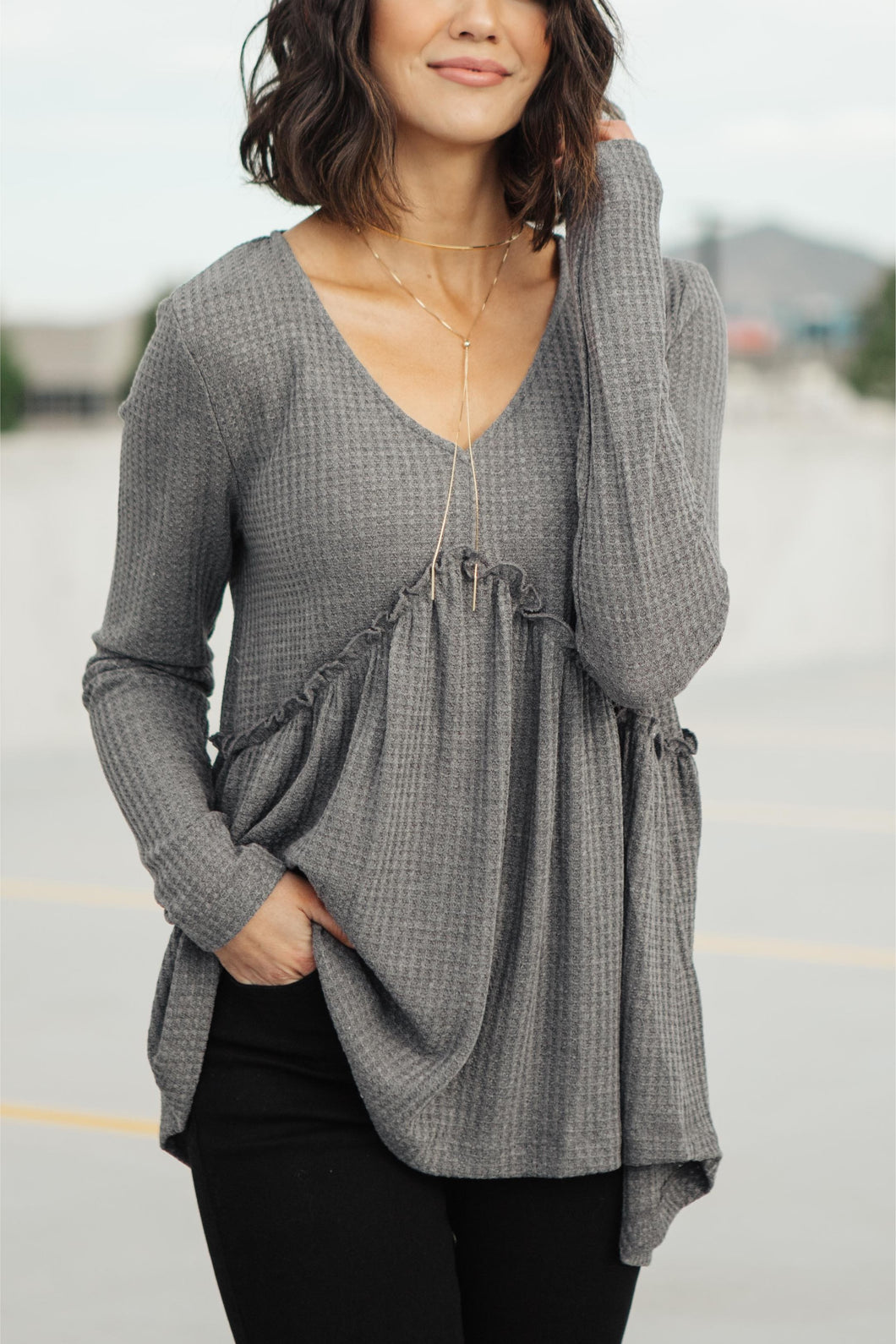 The Right Kind Of Attention Top In Charcoal