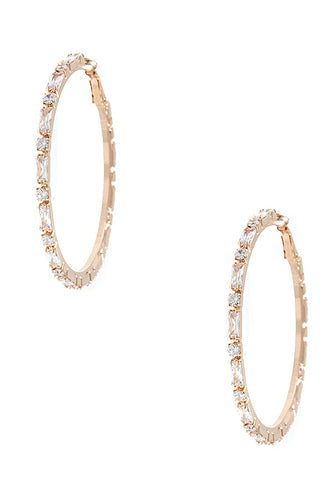 Chunky Crystal Hoop Earrings (Large)