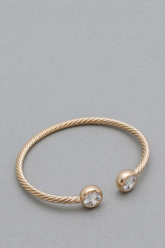 Gold Twist w/ Diamonds Cuff Bracelet