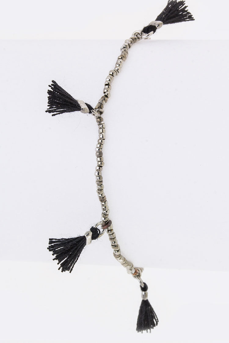 Stationed Tassels Stretch Bead Bracelet