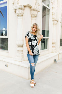 Black & White Flower Garden Top