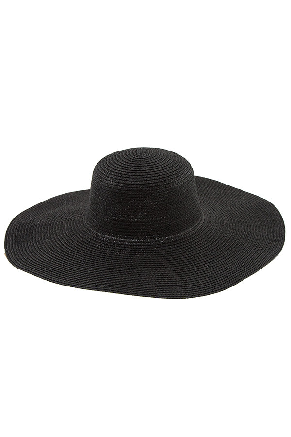 Floppy Straw Sun Hat in Black