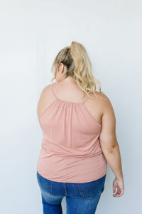 Charlize Surplice Tank In Blush