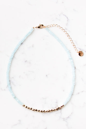 Colorblock Beaded Choker in Mint