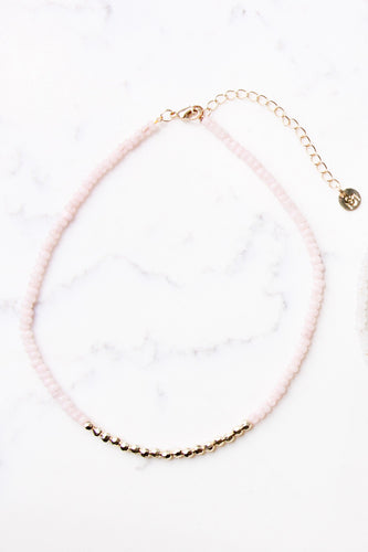 COLORBLOCK BEADED CHOKER IN PINK