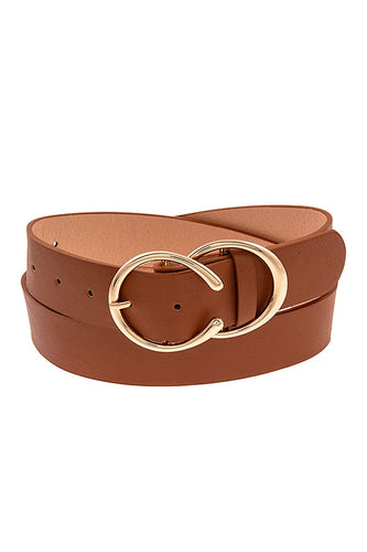 Faux Leather Fashion Belt w/ Gold Accents