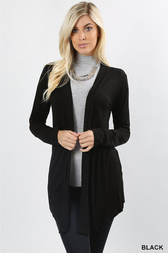Hi-Lo Drapey Cardigan in Black