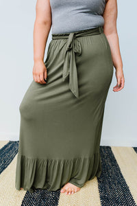 Falling For You Skirt In Olive