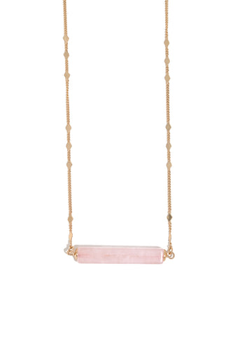 Semi Precious Rose Quarts Bar Necklace