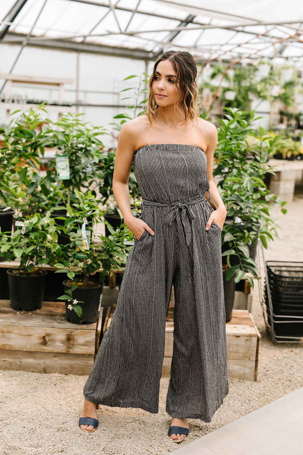 Jumpsuit: Cropped & Striped