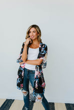 Lightweight Floral Kimono In Black