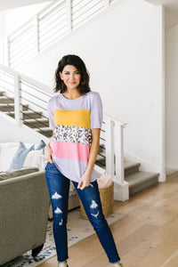 Sherbet Leopard Colorblock Top