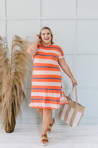 Sunny Day Striped T-Shirt Dress In Orange