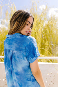 Tie & Tie Dye Top In Sky