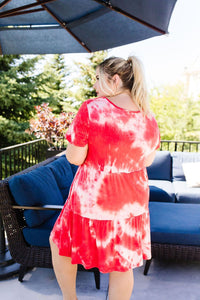 Tiered Tie Dye Dress In Coral