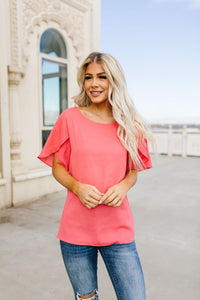 Tulip Sleeve Blouse In Coral