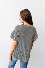 Vertical Horizon Striped Top In Black