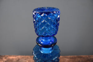 Blue genie bottle decanter with stopper and blue harlequin pattern