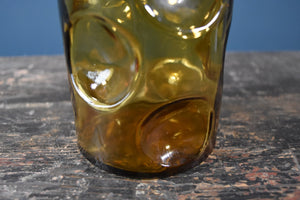 Amber genie bottle decanter with thumbprint/giraffe pattern