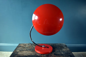 Pair of vintage bold red table lamps