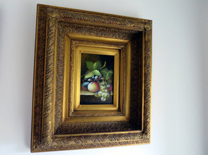 Oil paintings by P Carlos in ornate gold gilt gesso frames