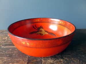 Matching Shelley red vase and bowl 1920s 8590