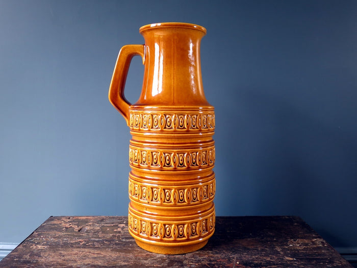 Huge floor-standing brown tundra patterned West German vase 429-45