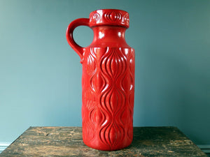 Floor standing red West German Pottery handled vase, Onion Amsterdam design by Scheurich Keramik 485-45