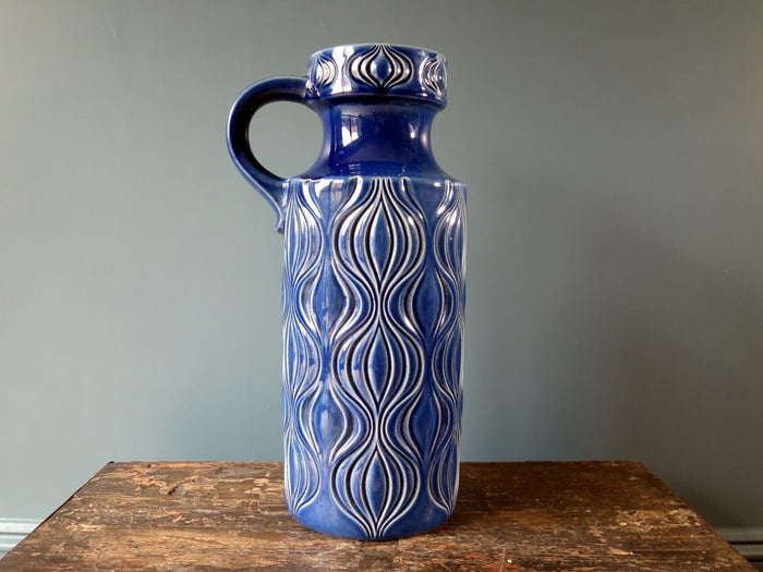 "Large floor standing blue West German handled vase, iconic ""Amsterdam"" design 485-45"