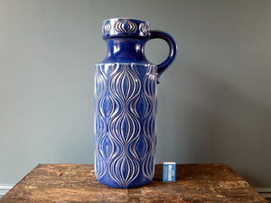 Floor standing blue West German Pottery handled vase, Onion Amsterdam design by Scheurich Keramik 485-45