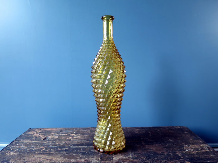 Rossini genie bottle decanter in Empoli glass with yellow diamond pattern