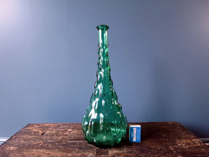 Rossini flask shaped genie bottle decanter in Empoli glass with green brick pattern