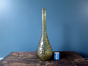 Rossini genie bottle decanter in Empoli glass with olive green hobnail pattern