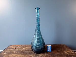 Rossini flask shaped genie bottle decanter in Empoli glass with blue diamond point pattern