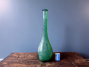 Rossini flask shaped genie bottle decanter in Empoli glass with green diamond point pattern