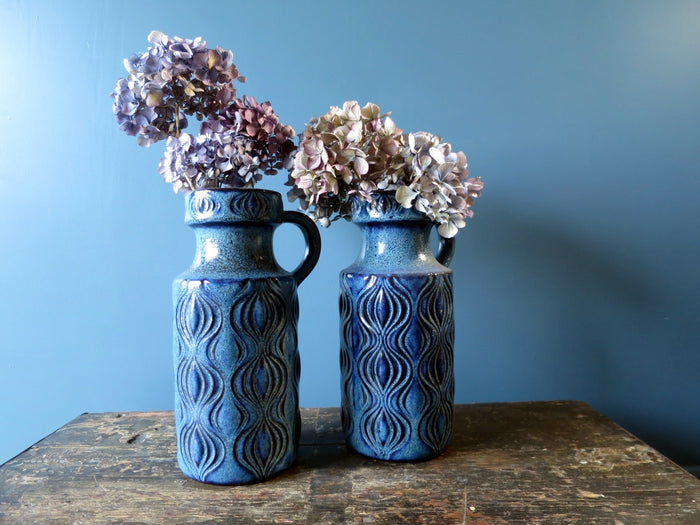 "Pair of blue West German handled vases in the iconic ""Amsterdam"" design 485-26"