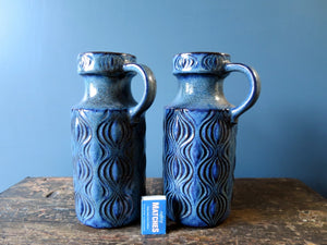 "Pair of blue West German Pottery handled vases in the ""Amsterdam"" onion design 485-26"