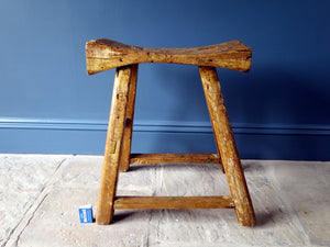 Rustic Georgian milking stool handmade 1700s 18th Century wood patina Georgian furniture workers stool