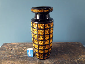 Vintage Scheurich Keramik West German Pottery black and yellow vase with Prisma pattern 261-30
