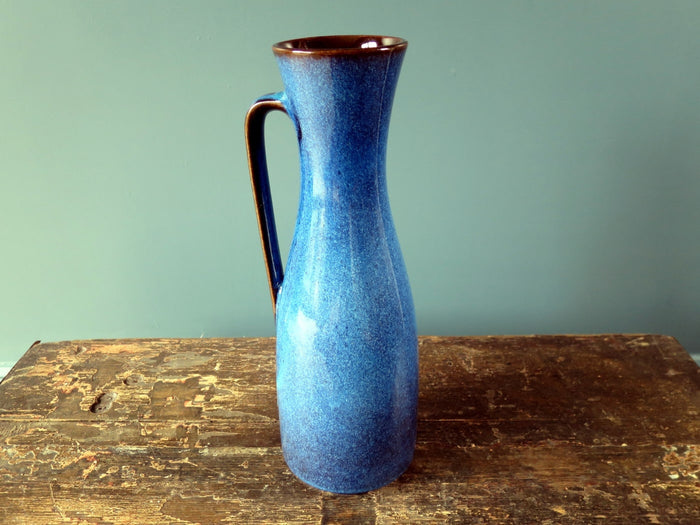 Tall dark blue highly glazed West German vase/pitcher 6013-30
