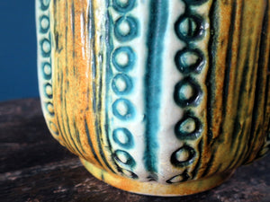 Jasba Keramic yellow and green West German Pottery vase with handmade pattern 1579-30