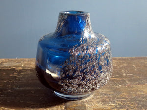 Schott Zwiesel heavy crystal glass vase blue with air bubbles