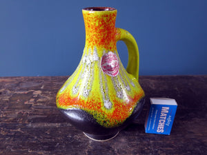 Overglazed dripped Bay Keramik West German Pottery vase with handle 67-17