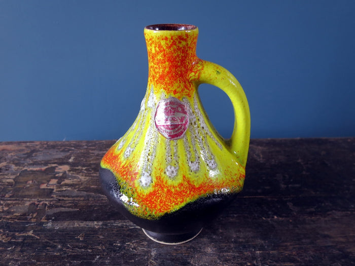 Overglazed dripped colourful West German vase with handle 67-17