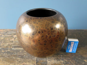 Gold and brown West German crackled ball vase