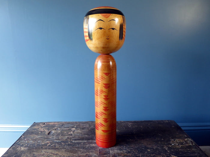 Kokeshi doll - Yajiro with red faded chrysanthemum pattern - XL (47cm)