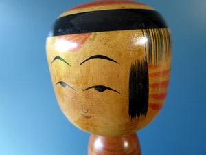 Kokeshi doll - Togatta style with red chrysanthemum pattern - very large