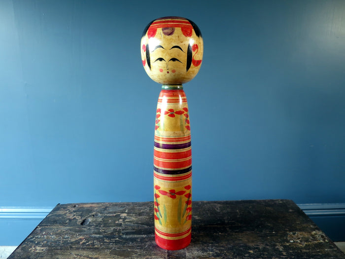 Kokeshi doll - striped colourful Yajiro - XL (46cm)