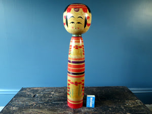 Kokeshi doll - striped colourful design - very large