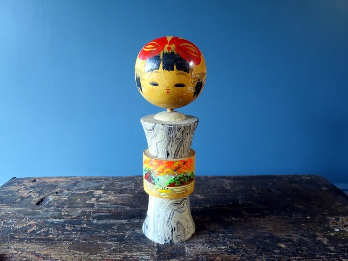 Kokeshi doll - Naruko with painted fishing scene - medium (27cm)